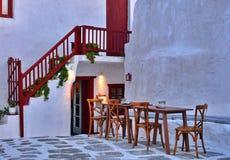 Greek taverna. Greek traditional taverna at sunset stock photo