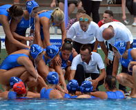 The greek team preparing for the battle-cry. Budapest, Hungary - Jul 16, 2014. The greek team preparing for the battle-cry. The Waterpolo European Championship Stock Image
