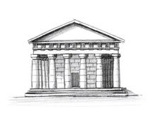 Greek temple. Old greek classical architecture temple Royalty Free Stock Images