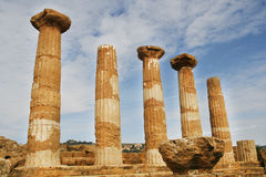 Greek temple. The Temple of Heracles - ancient Greek landmark in Agrigento, Sicily. It is the UNESCO World Heritage Site Royalty Free Stock Image