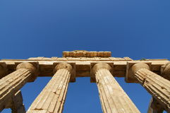 Greek Temple. View of the columns in the temple of Hera in Selinunte, Sicily. It is one of the largest Greek temple in Italy Stock Photo