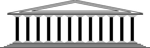 Greek temple. On white background Royalty Free Stock Image