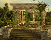 Greek Temple. An ancient Greek temple with a burners and ivy Stock Photography