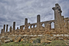 Greek temple of Agrigento in hdr. Sicily- Italy royalty free stock image
