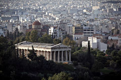 Greek temple, Athens Greece. Ancient Greek temple and Athens city high view Stock Photos