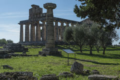 Greek Temple of Ceres, Paestum, Cilento Italy royalty free stock photography
