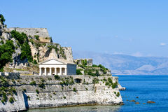 Greek Temple on Coast of Corfu stock images