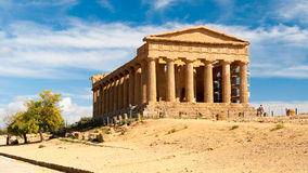 The greek temple of Concordia in Agrigento (Sicily) Royalty Free Stock Images