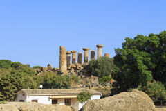 Greek Temple of Heracles in Agrigento - Sicily, Italy Royalty Free Stock Photography