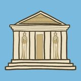 Greek temple icon, hand drawn style vector illustration