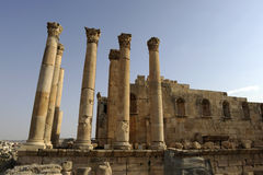 Greek temple at Jerash Stock Photos