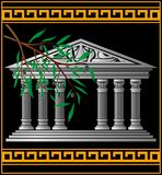 Greek temple and olive branch Stock Image
