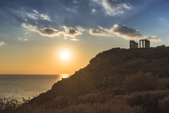 Greek temple of Poseidon, Cape Sounio Royalty Free Stock Photography