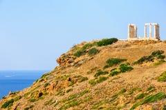 Greek temple of Poseidon, in Cape Sounion Stock Photos