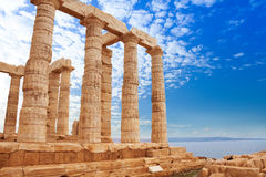 Greek Temple of Poseidon on cape Sounion, Athens Royalty Free Stock Photos