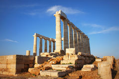 Greek temple of Poseidon Royalty Free Stock Images