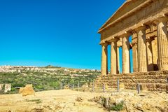 Greek temple - remains of the Temple of Concordia. Agrigento, Sicily island stock photo