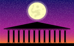 Greek temple ruins. At night Royalty Free Stock Photography