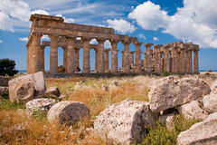 Greek temple in Selinunte Stock Photo