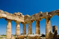 Greek Temple in Selinunte Sicily. The pillars of an old Greek, Doric temple in Selinunte, Sicily, Italy Stock Photo