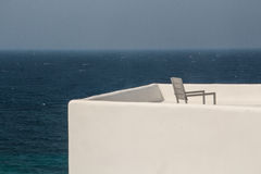 Greek terrace in Donoussa. Overlooking the Aegean Sea from a terrace in the Cyclades islands stock photography