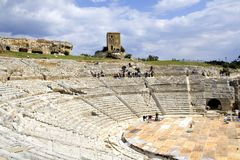 Greek Theater. The ancient ruin of the Greek Theater to Syracuse Sicily Royalty Free Stock Photos