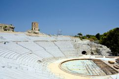 Greek Theater. The ancient ruin of the Greek Theater to Syracuse Sicily Stock Images