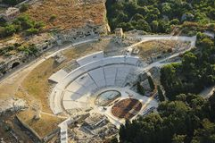 Greek theater aerial view, Syracuse. An aerial view of the greek theater in Syracuse (Siracusa-Sicily) during the classical performances held on July 2012 Stock Photo