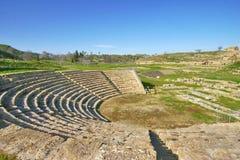 Greek theater of Morgantina, in Sicily stock image