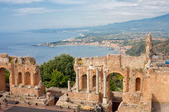 Greek theater and the Naxos bay, Taormina Royalty Free Stock Photos