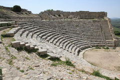 Greek theater (Segesta Sicily Italy) Royalty Free Stock Photo