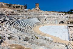 Greek theater in Syracuse, Sicily, Italy Stock Images