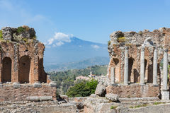 Greek theater Taormina city with a panorama at the Etna, Sicily Royalty Free Stock Photography