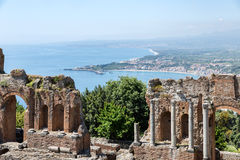 Greek theater Taormina city with a panorama at Siciliy Stock Photos