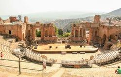 The greek theater of Taormina Stock Photography