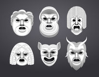 Greek theatre mask set Stock Photography