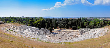 Greek Theatre - Panorama. Panoramic picture of the Greek Theatre in Syracuse, Sicily royalty free stock images