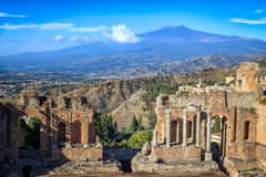 Greek Theatre Ruins with Mount Etna in Background Stock Photography