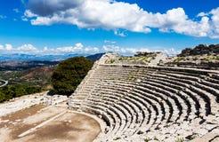 Greek Theatre of Segesta, historical landmark in Sicily, Italy Stock Photos
