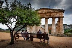 Greek Theatre of Segesta, historical landmark in Sicily, Italy Royalty Free Stock Photos
