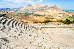 Greek Theatre of Segesta Stock Photo