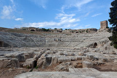 Greek theatre, Syracuse, Sicily, Italy. The Greek theater in Syracuse, Siracusa, Sicily, Italy Stock Photos