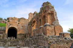 Greek theatre of Taormina: detail Stock Images