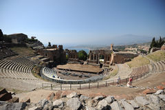 Greek theatre in Taormina and Etna volcano Stock Photos