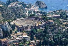 Greek Theatre of Taormina Sicily Stock Photos