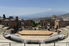 Greek theatre of Taormina Stock Photography