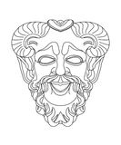 Greek theatrical mask of satyr. Drawing of a greek teatrical mask of satyr Royalty Free Illustration