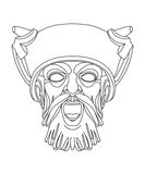 Greek theatrical mask of a warrior. Drawing of a male greek teatrical mask of a warrior Vector Illustration