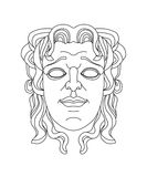 Greek theatrical mask of a young man. Drawing of a male greek teatrical mask of a young sad man Vector Illustration