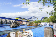Europa Park express train in Greek scenery stock photography